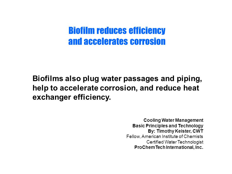 Biofilm reduces efficiency and accelerates corrosion
