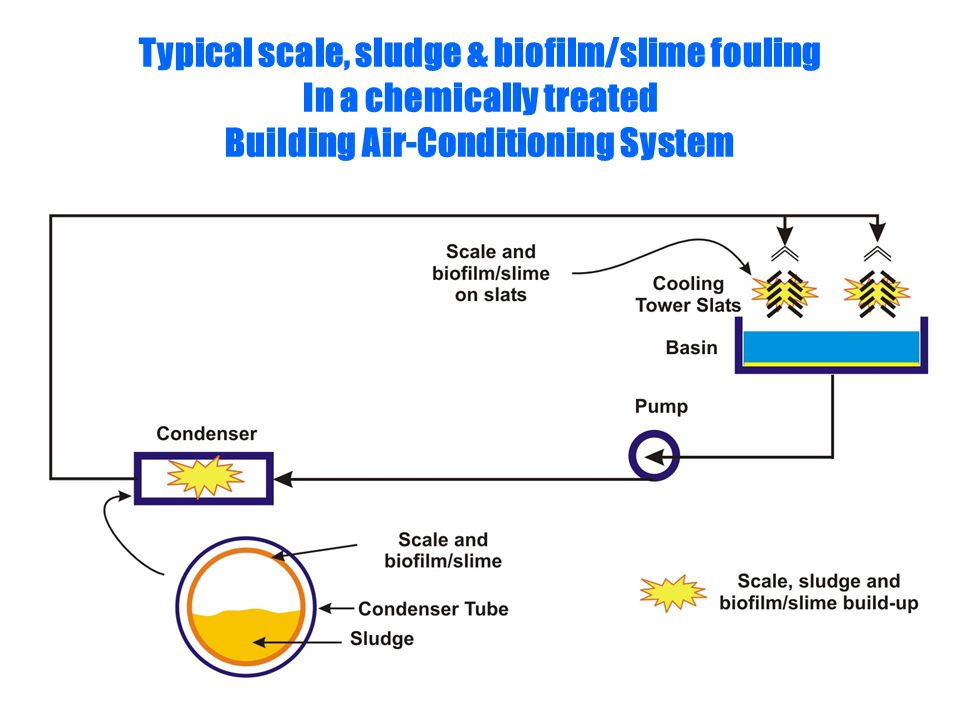 Typical scale, sludge & biofilm/slime fouling In a chemically treated Building Air-Conditioning System