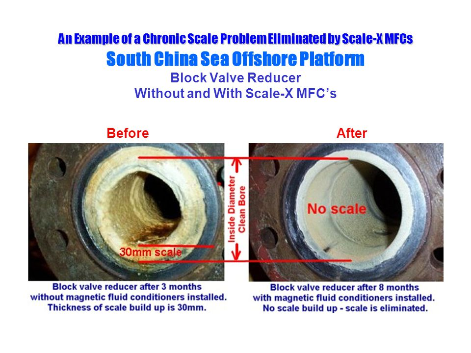 An Example of a Chronic Scale Problem Eliminated by Scale-X MFCs South China Sea Offshore Platform Block Valve Reducer Without and With Scale-X MFC's
