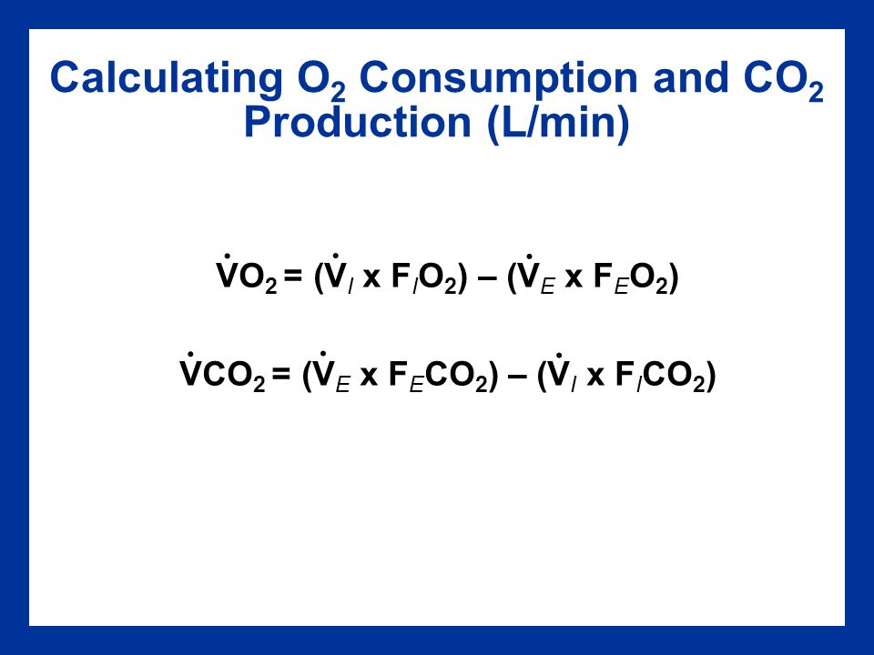 Calculating O2 Consumption and CO2 Production (L/min)
