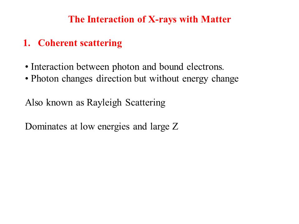 The Interaction of X-rays with Matter