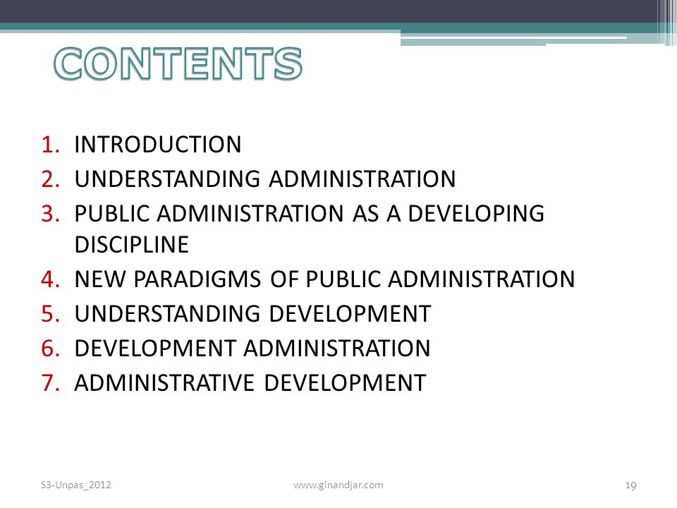 CONTENTS INTRODUCTION UNDERSTANDING ADMINISTRATION