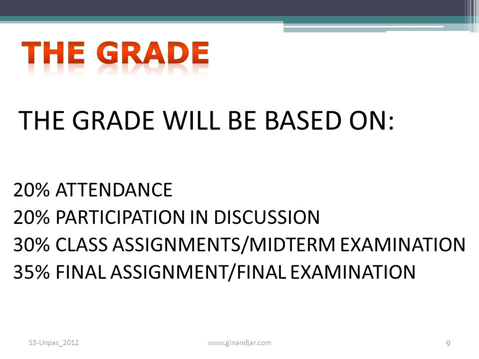 THE GRADE WILL BE BASED ON: