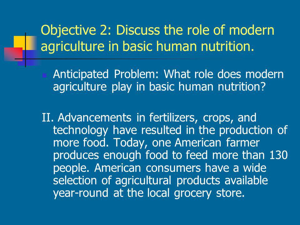 Objective 2: Discuss the role of modern agriculture in basic human nutrition.