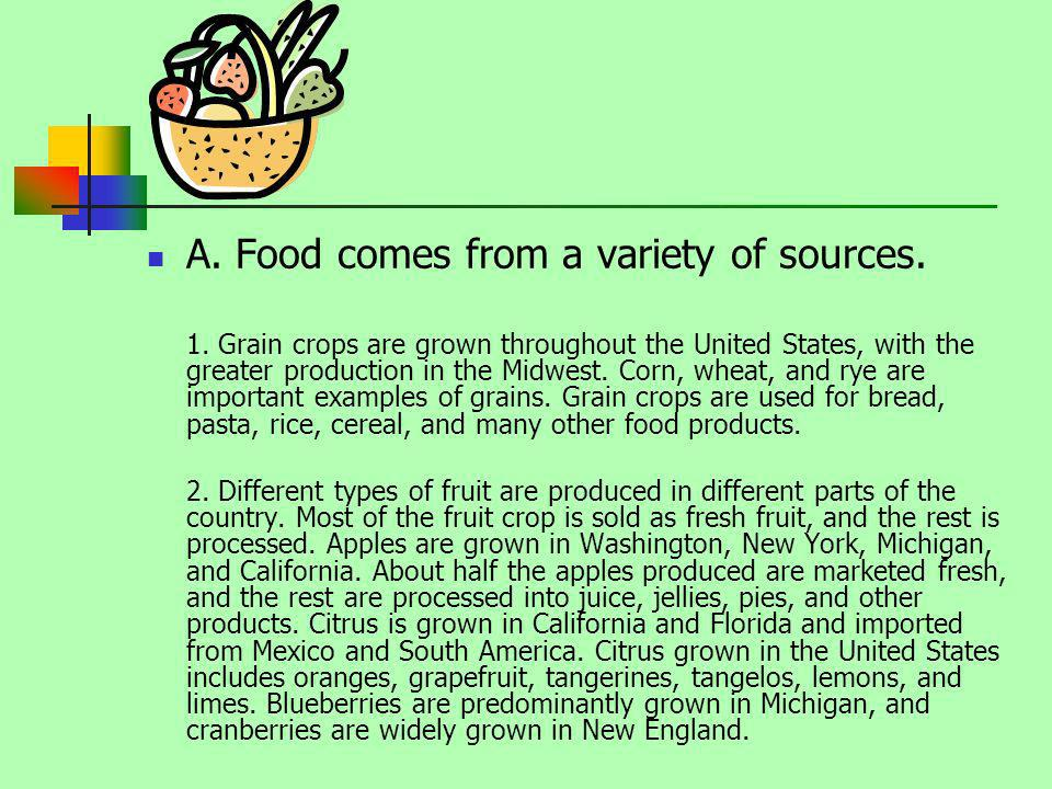 A. Food comes from a variety of sources.