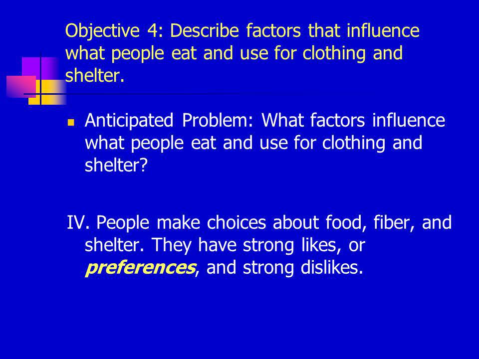 Objective 4: Describe factors that influence what people eat and use for clothing and shelter.