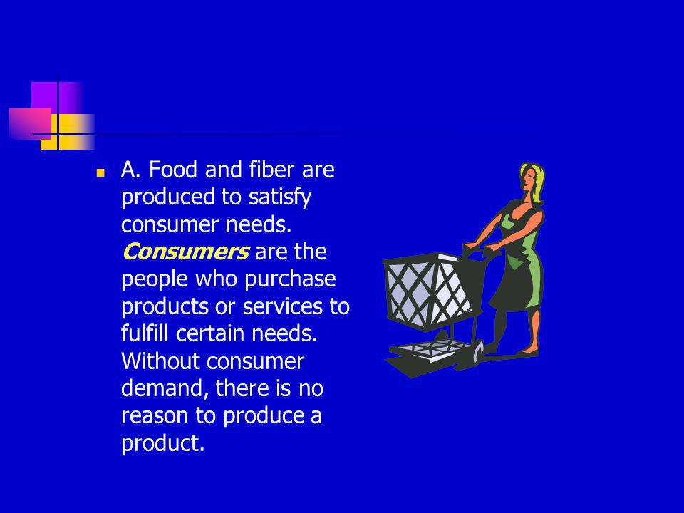 A. Food and fiber are produced to satisfy consumer needs
