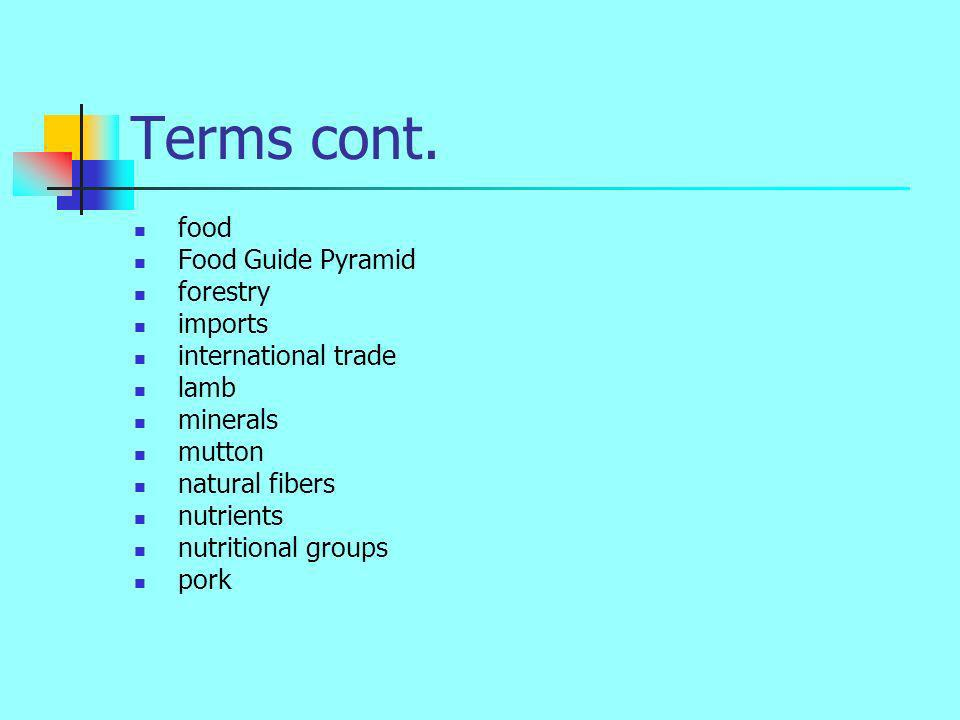 Terms cont. food Food Guide Pyramid forestry imports