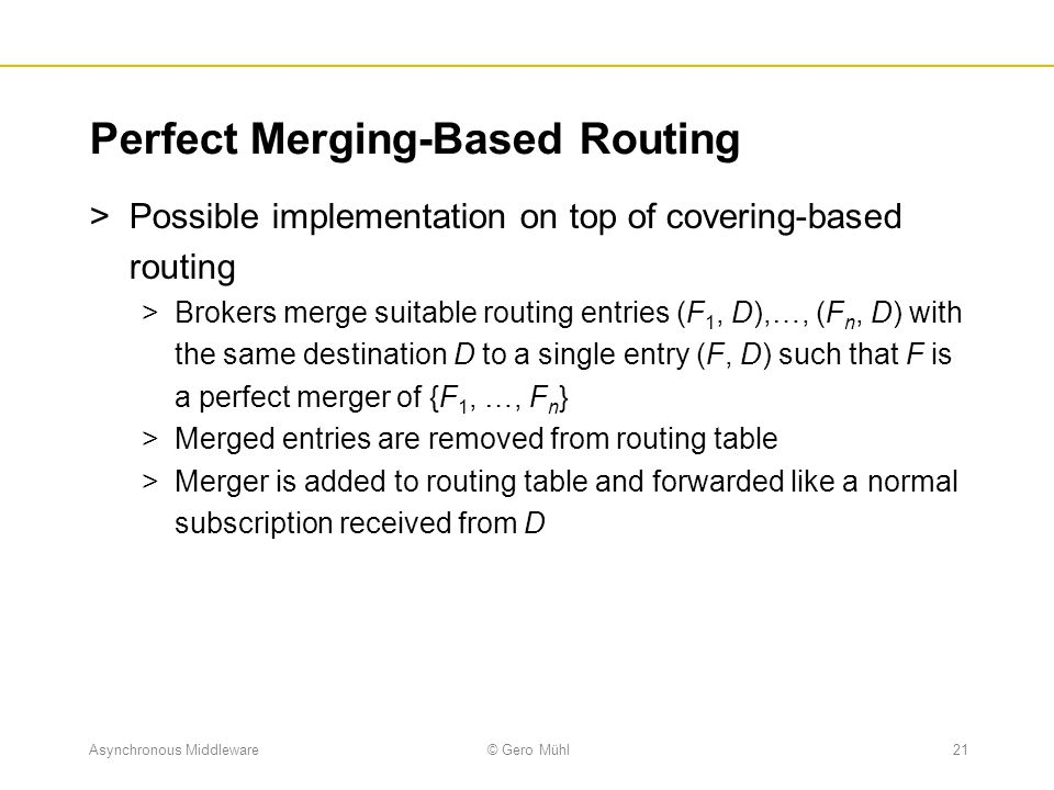 Perfect Merging-Based Routing