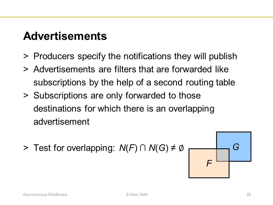 Advertisements Producers specify the notifications they will publish