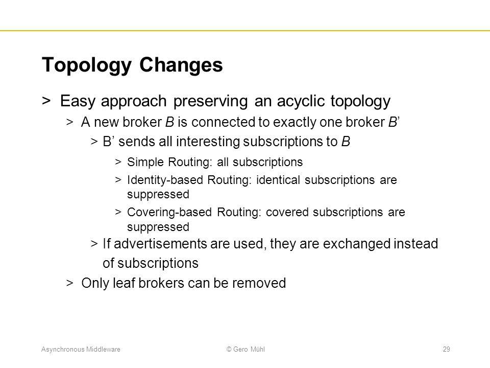 Topology Changes Easy approach preserving an acyclic topology