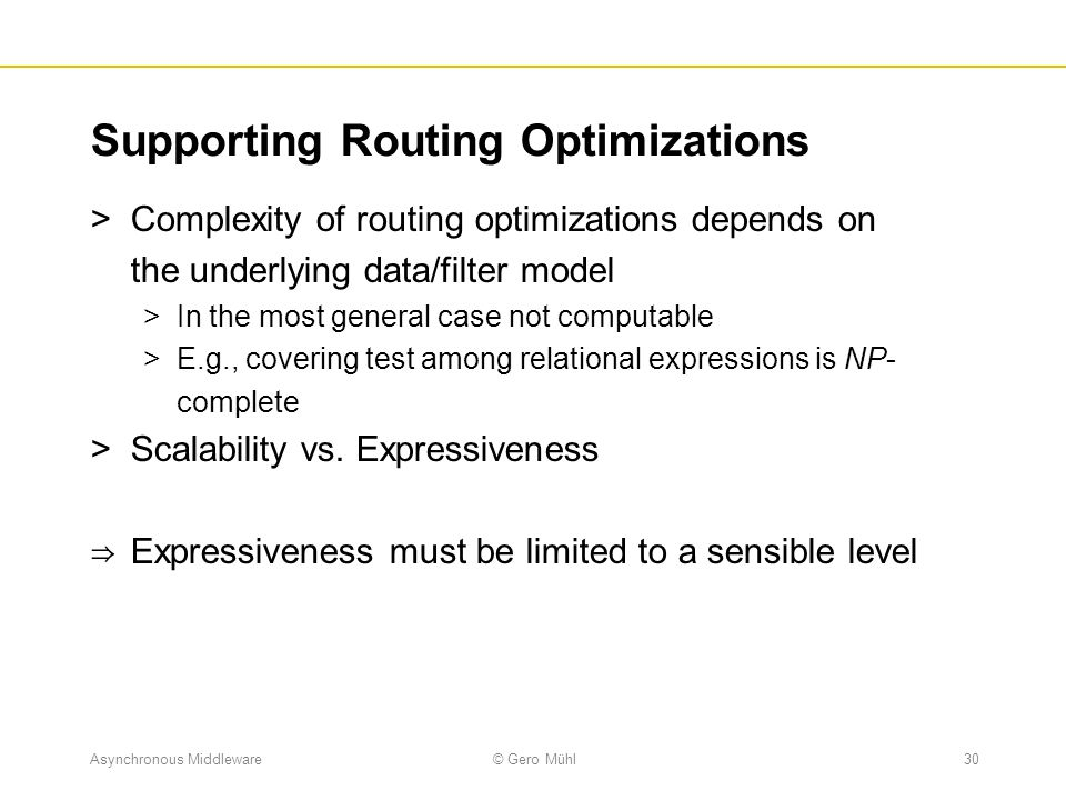 Supporting Routing Optimizations