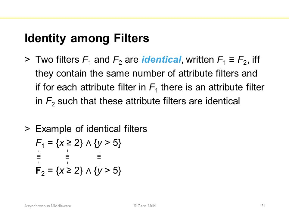 Identity among Filters