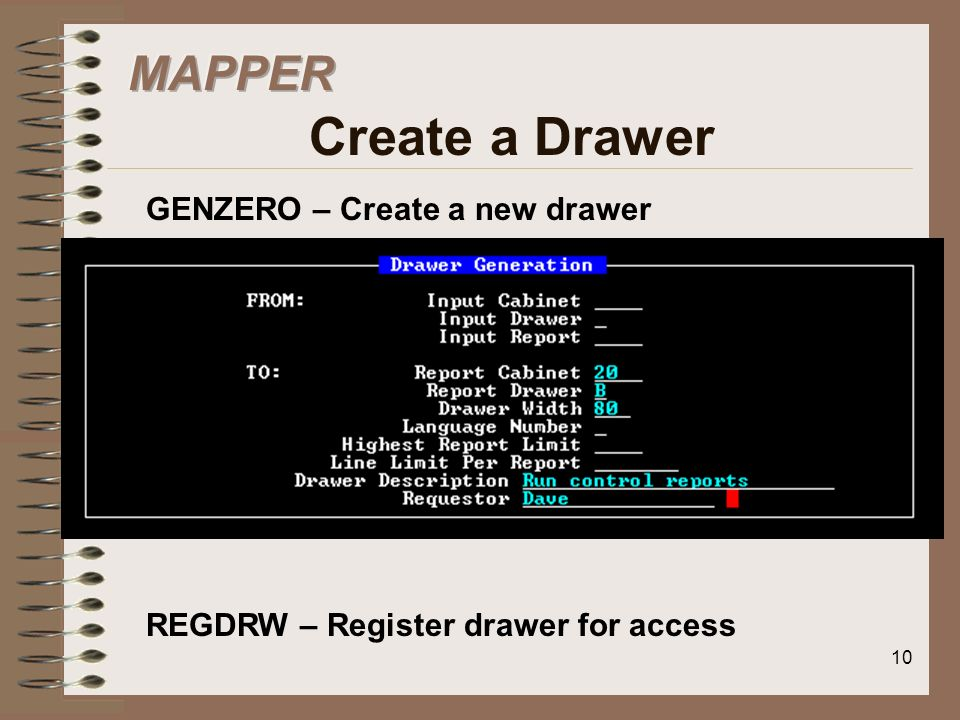 MAPPER Create a Drawer GENZERO – Create a new drawer