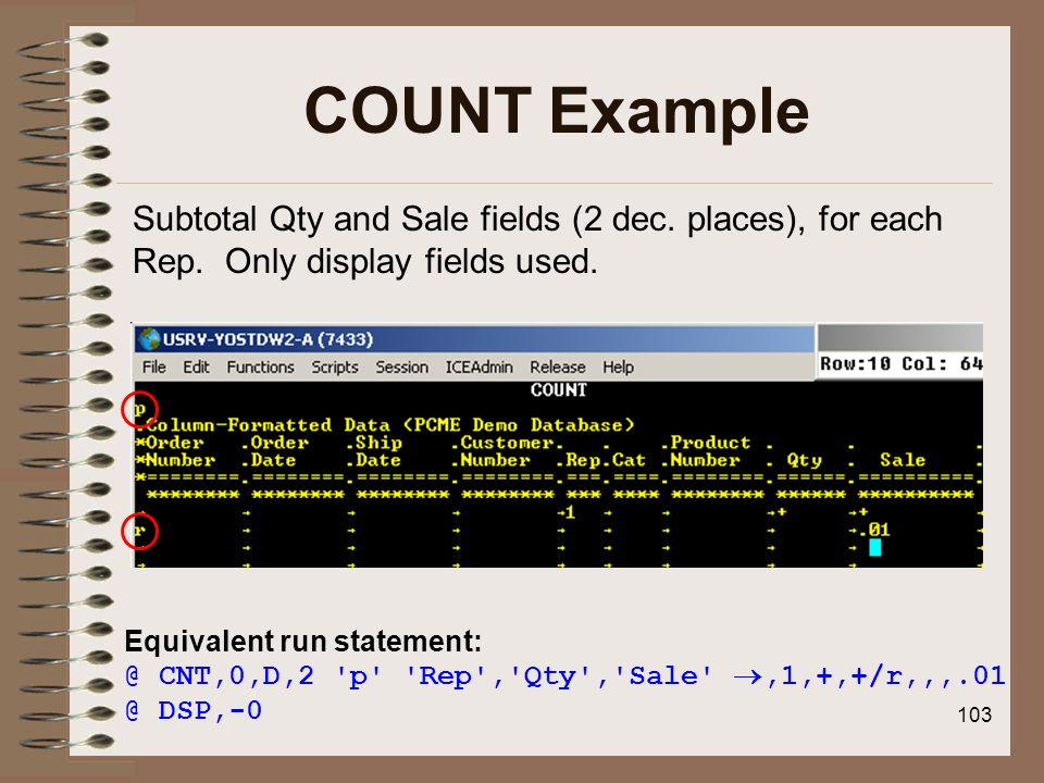 COUNT ExampleSubtotal Qty and Sale fields (2 dec. places), for each Rep. Only display fields used.
