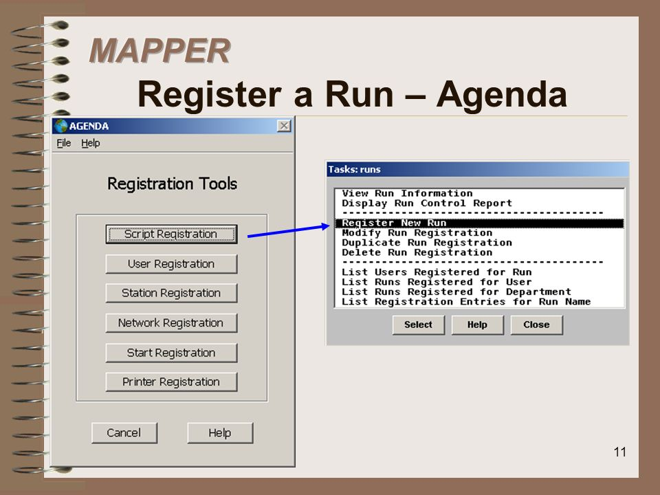 MAPPER Register a Run – Agenda
