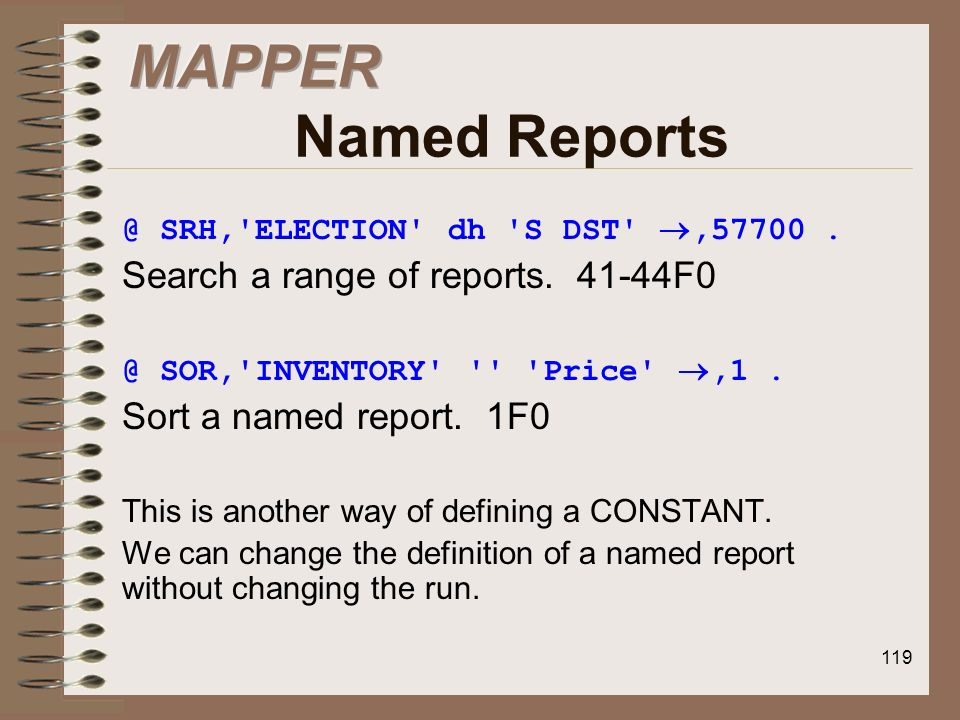 MAPPER Named Reports Search a range of reports F0