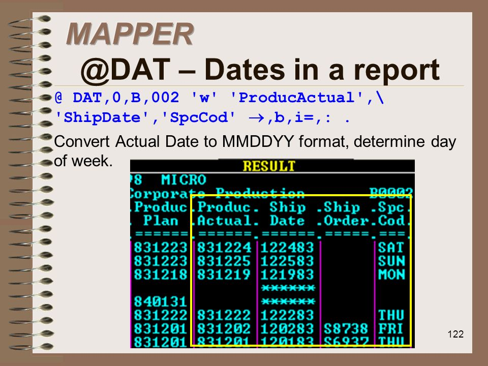 – Dates in a report