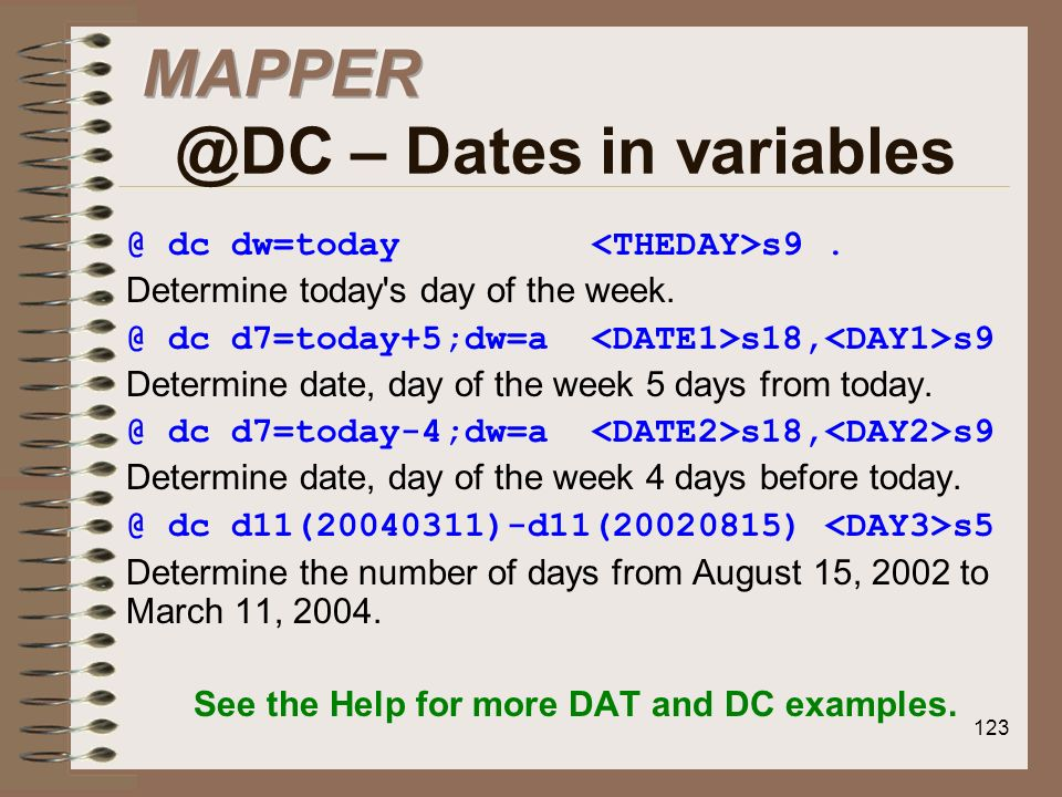 – Dates in variables