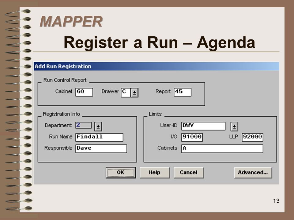 MAPPER Register a Run – Agenda