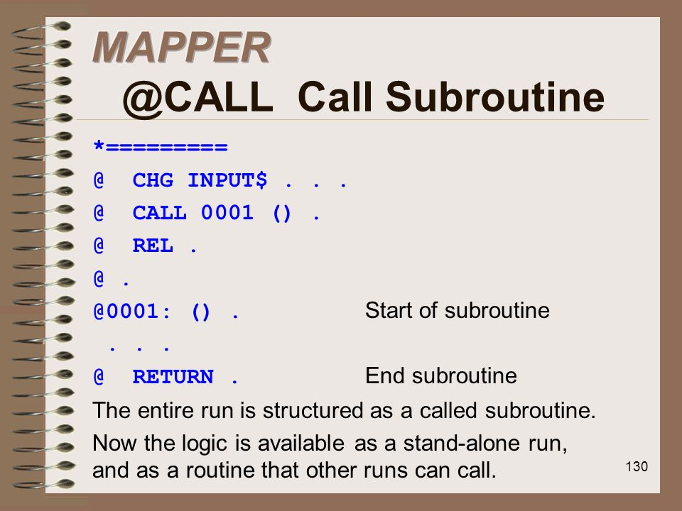 MAPPER @CALL Call Subroutine