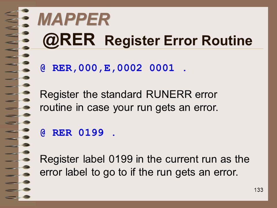 MAPPER @RER Register Error Routine