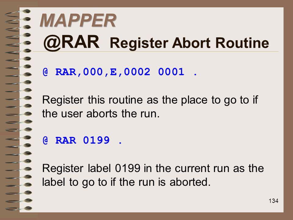 MAPPER @RAR Register Abort Routine