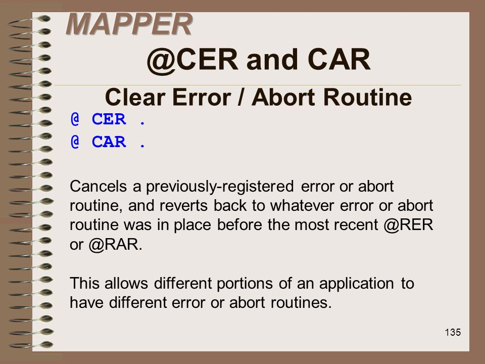 MAPPER @CER and CAR Clear Error / Abort Routine