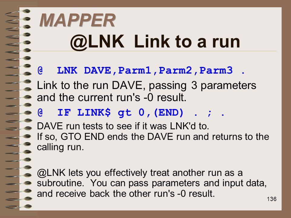 MAPPER @LNK Link to a run