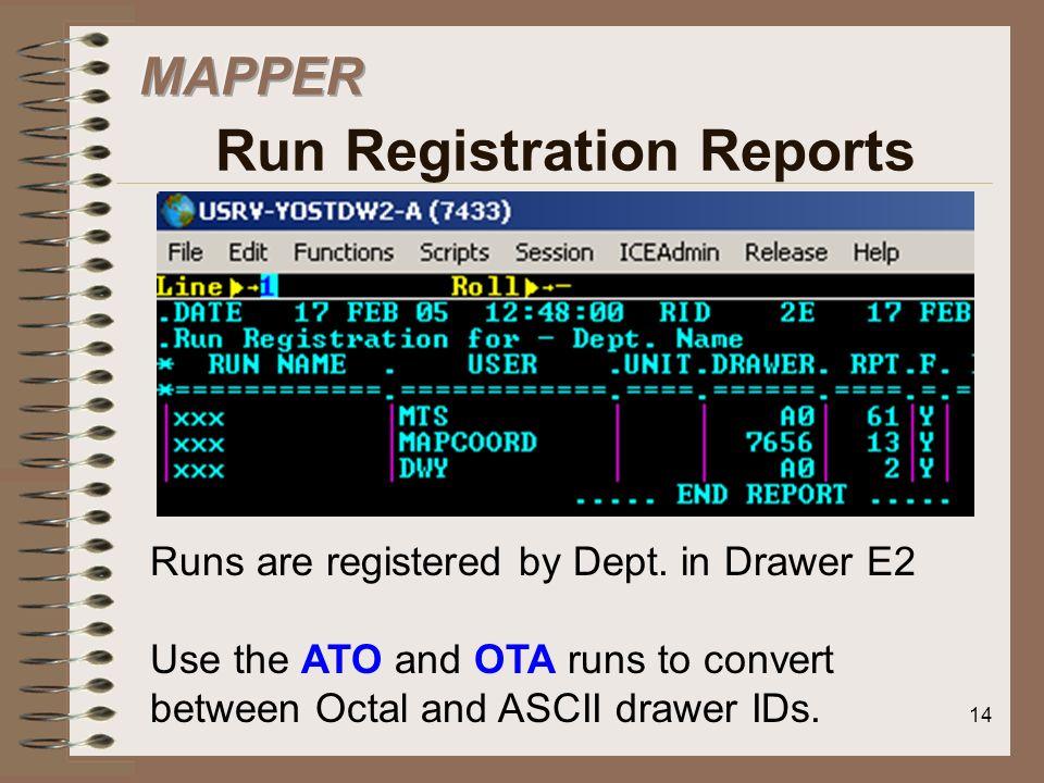 MAPPER Run Registration Reports