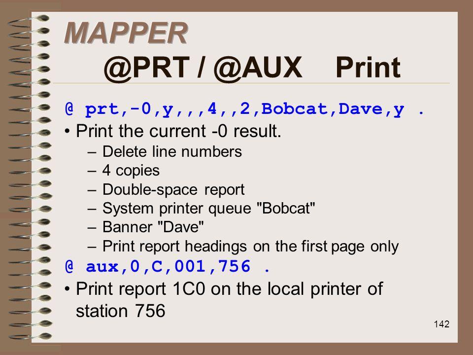 MAPPER @PRT / @AUX Print