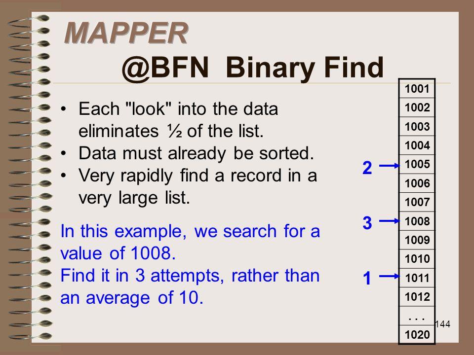 MAPPER @BFN Binary Find