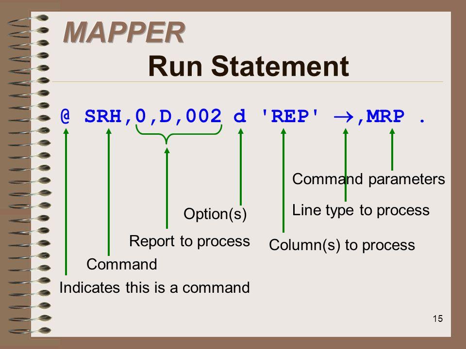 MAPPER Run Statement @ SRH,0,D,002 d REP ,MRP . Command parameters