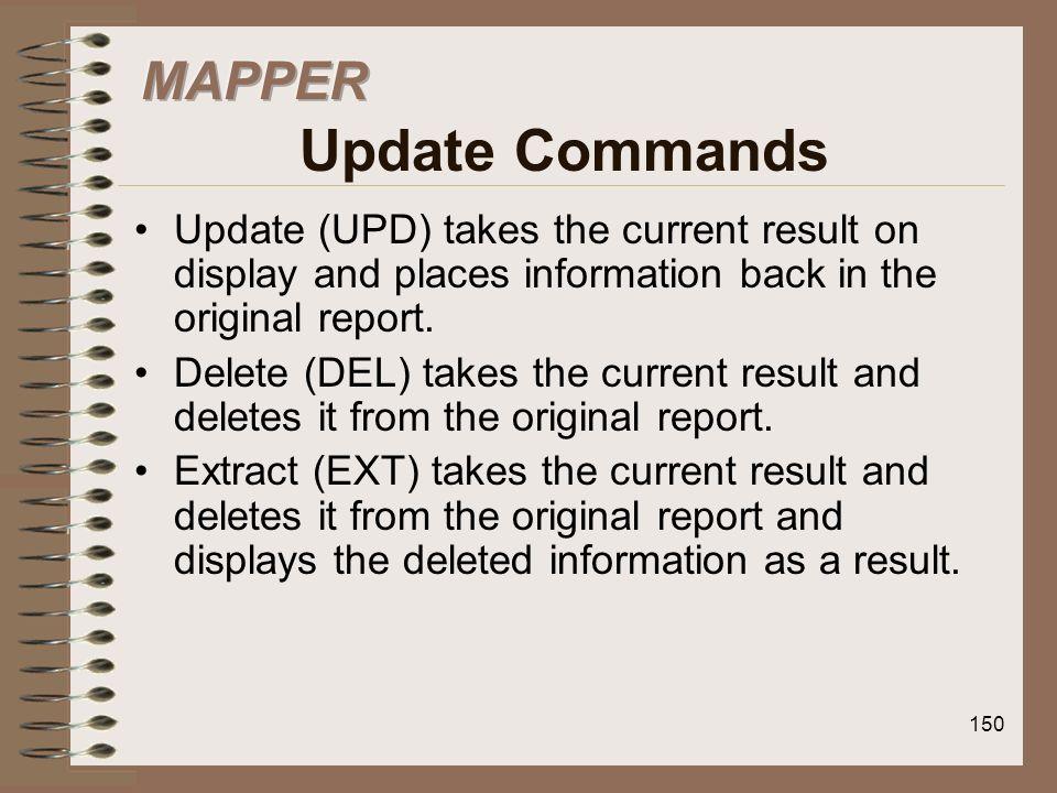 MAPPER Update Commands