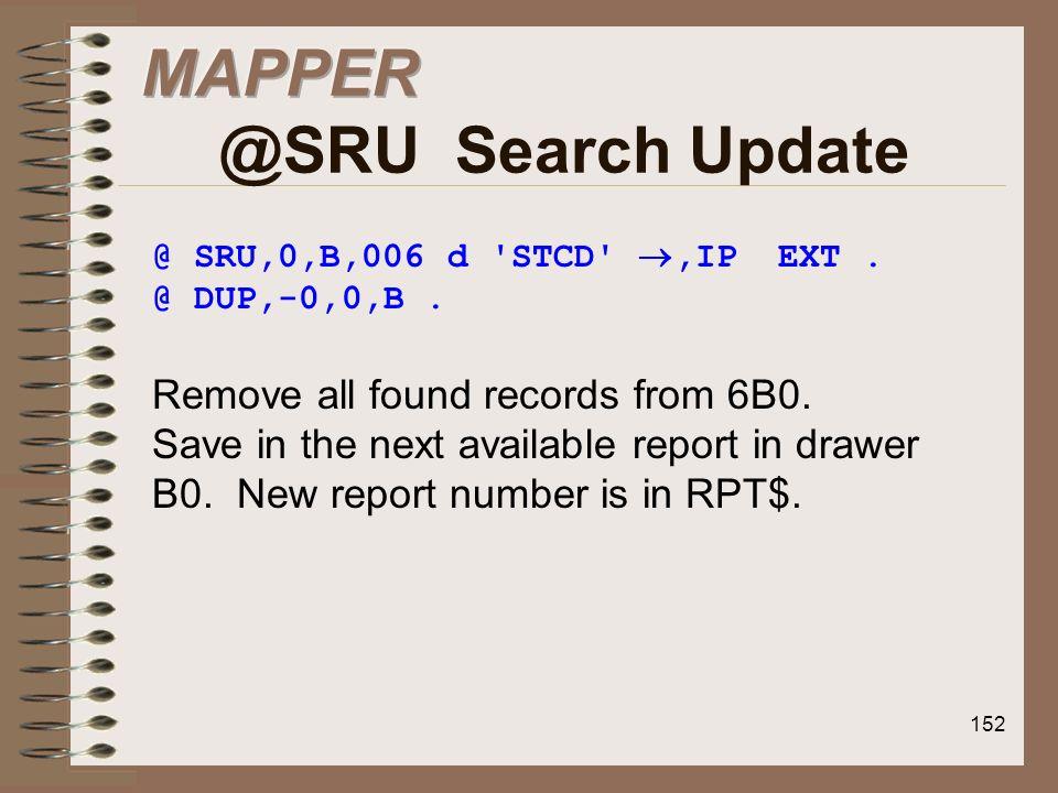 MAPPER @SRU Search Update