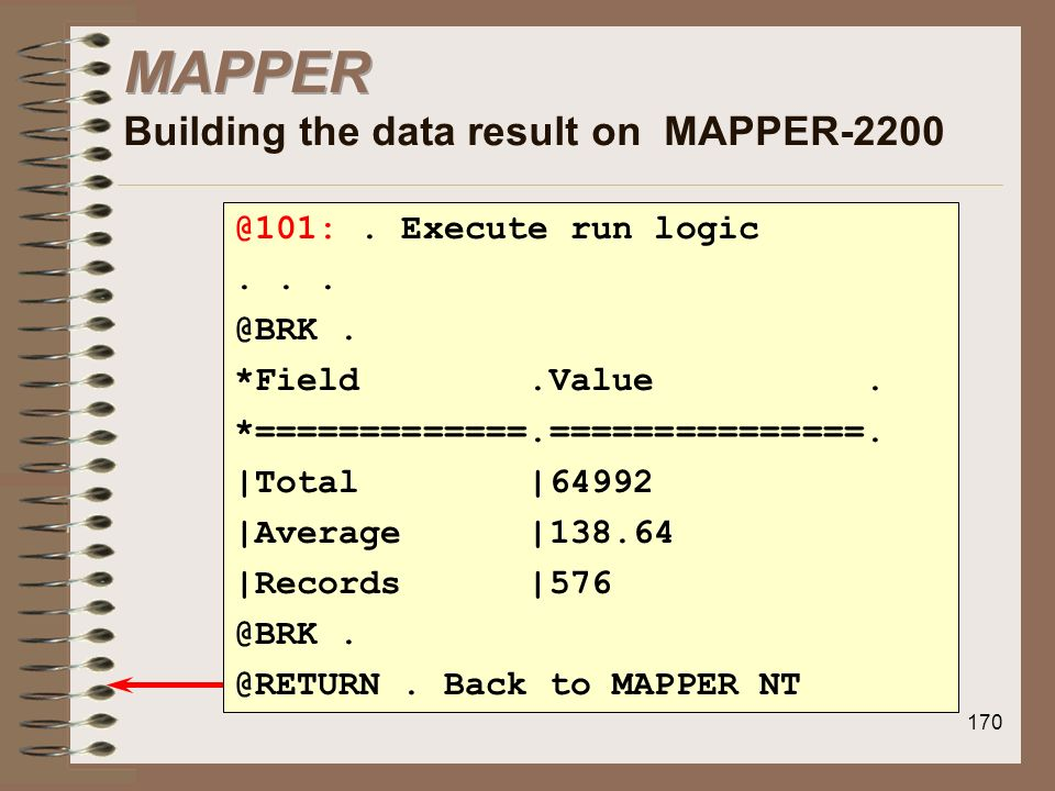 MAPPER Building the data result on MAPPER-2200