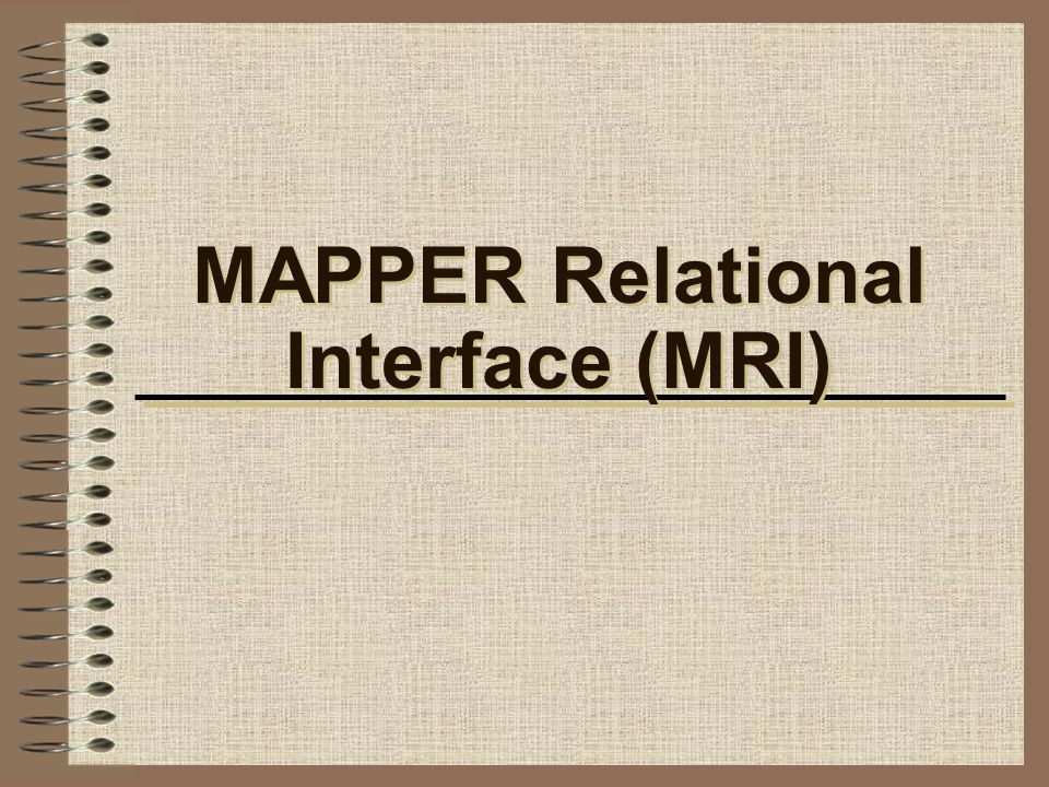 MAPPER Relational Interface (MRI)