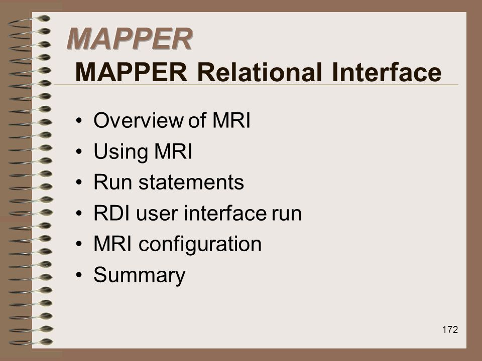 MAPPER MAPPER Relational Interface
