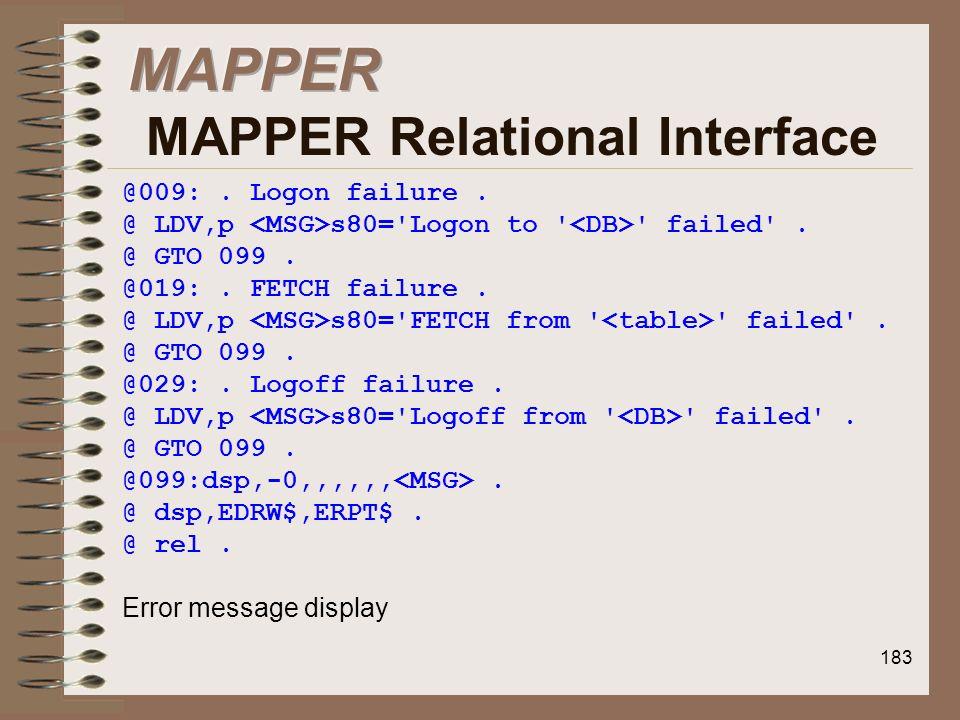MAPPER MAPPER Relational Interface