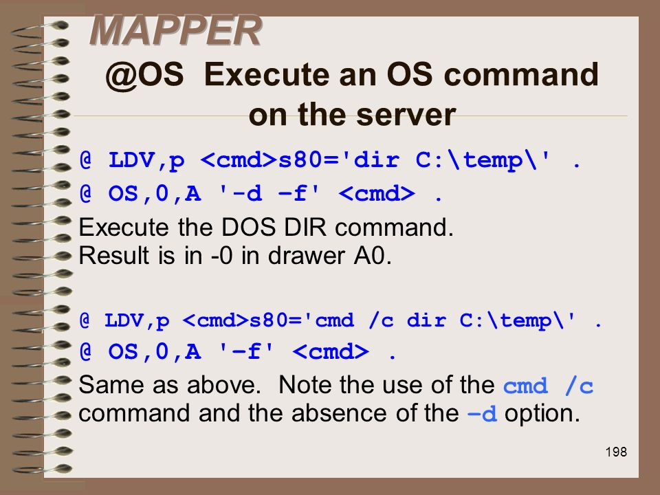 MAPPER @OS Execute an OS command on the server