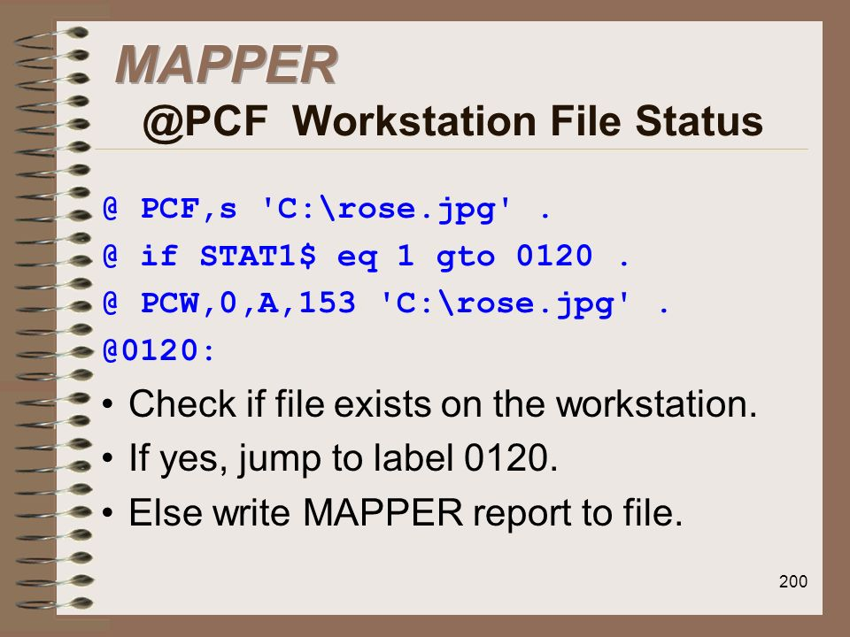 MAPPER @PCF Workstation File Status