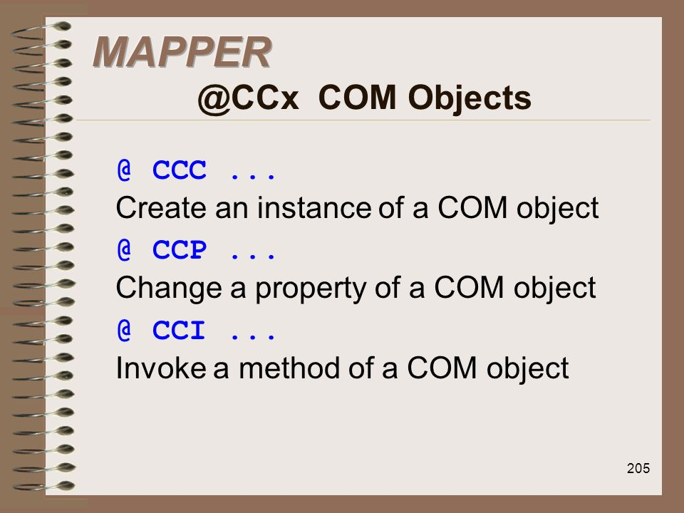 MAPPER @CCx COM Objects