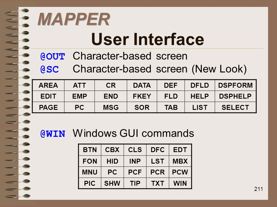 MAPPER User Interface @OUT Character-based screen