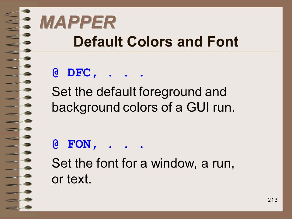 MAPPER Default Colors and Font