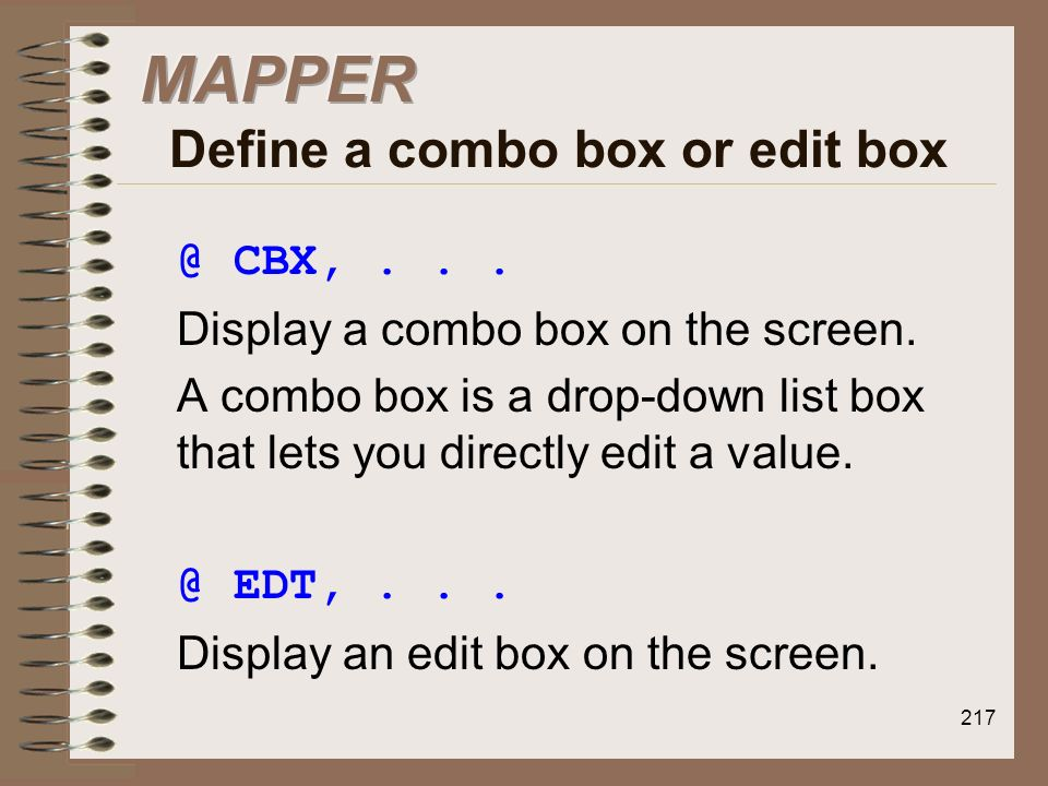 MAPPER Define a combo box or edit box