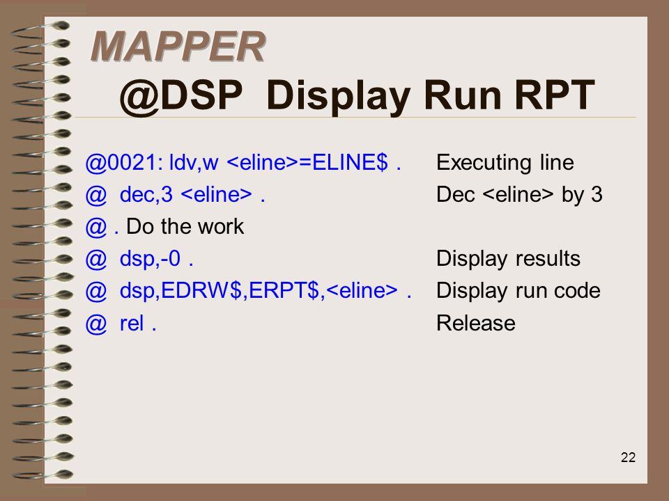 Display Run RPT