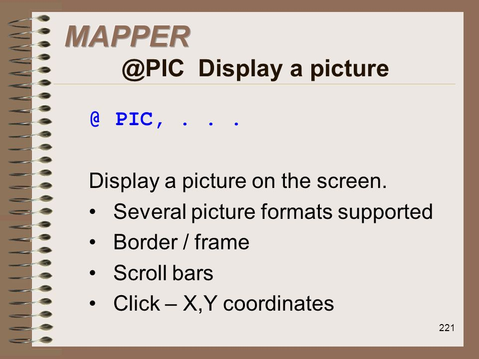 MAPPER @PIC Display a picture