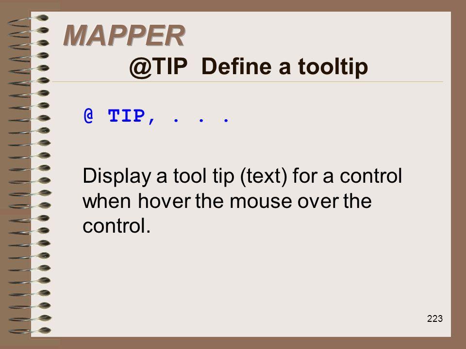 MAPPER @TIP Define a tooltip