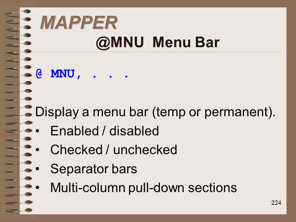 MAPPER @MNU Menu Bar @ MNU, . . .