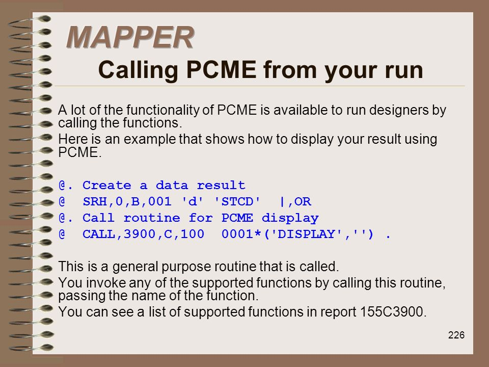 MAPPER Calling PCME from your run